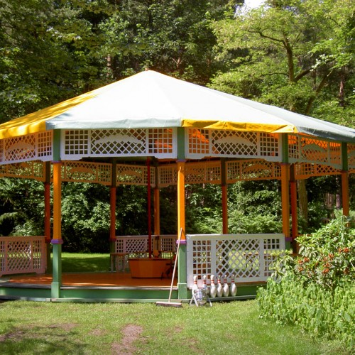 bruiloftstent groen geel dak